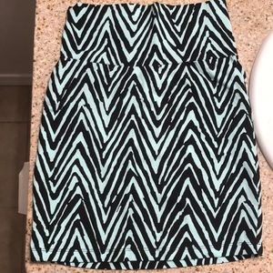 Light Teal and Black Pattern Mini Pencil Skirt